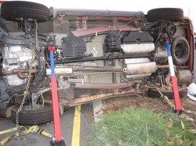 Car on side extrication